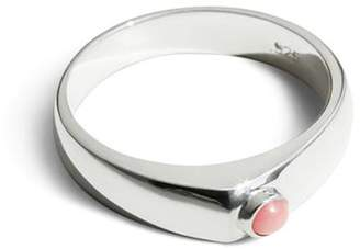 Shinola Sterling Silver Asymmetrical Stacking Ring with Opal