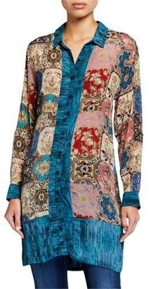 Tolani Eloise Long Silk Tunic Blouse