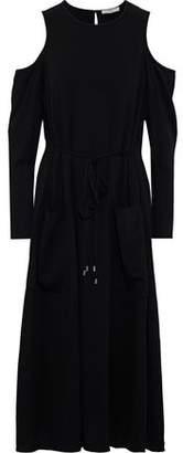 Tibi Cold-shoulder Crepe Midi Dress