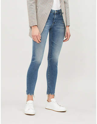 AG Jeans Ripped-hem mid-rise ultra-skinny jeans