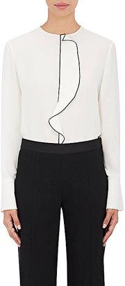 Giorgio Armani Women's Silk Crepe Ruffle-Front Blouse $1,995 thestylecure.com