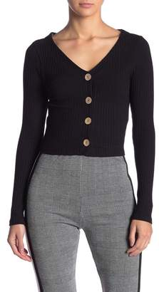 Dee Elly Knit Button Up Long Sleeve Crop Top