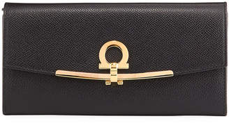 Salvatore Ferragamo Icona Leather Continental Wallet w/ Hanging ID Tag, Black