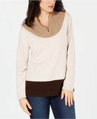 Karen Scott Cotton Colorblocked Cowl-Neck Sweater
