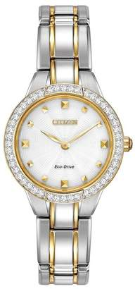 Citizen Women's Eco-Drive Two-Tone Crystal Accent Bracelet Watch, 28mm