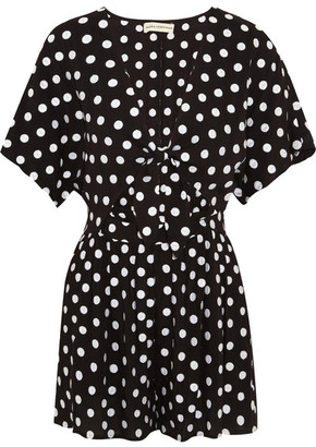Mara Hoffman - Polka-dot Embroidered Poplin Playsuit - Black $255 thestylecure.com
