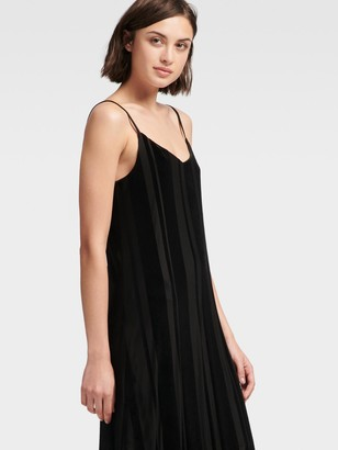 DKNY Striped Velour Slip Dress