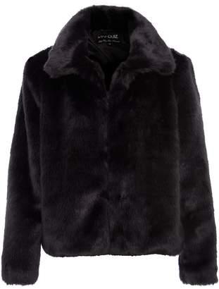Quiz Black Short Fur Collar Jacket