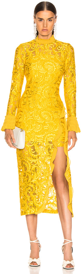 Alexis Fala Dress in Gold Lace   FWRD