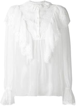 Dolce & Gabbana ruffled lace detail blouse