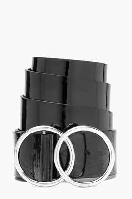 boohoo Hannah Double Ring Patent Boyfriend Belt