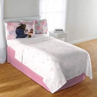 "Disney Princess Disney's Beauty and the Beast ""Enchanted Romance"" Kids' Bedding Sheet Set Twin, Exclusive"