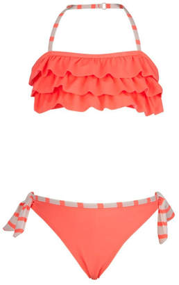 Snapper Rock Coral Ruffle Bikini-Set