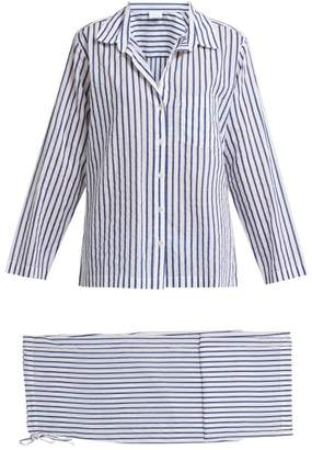 Pour Les Femmes - Striped Cotton Pyjama Set - Womens - Blue Stripe