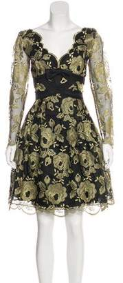 Couture Liancarlo Metallic Embroidered Knee-Length Dress