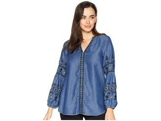 Scully Brynn Embroidered Sleeve Blouse