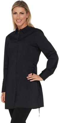 Brooke Shields Timeless BROOKE SHIELDS Timeless Woven Tunic Shirt w/ Side Corset Detail