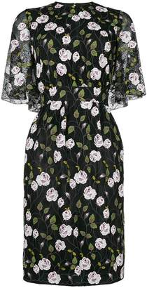 Giambattista Valli floral print cape effect midi dress