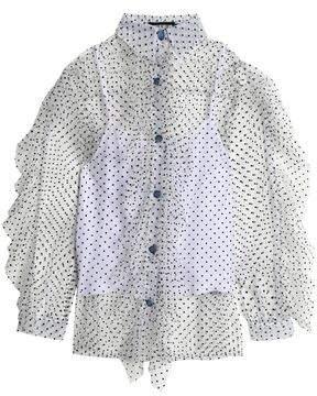 House of Holland Ruffled Flocked Tulle Shirt