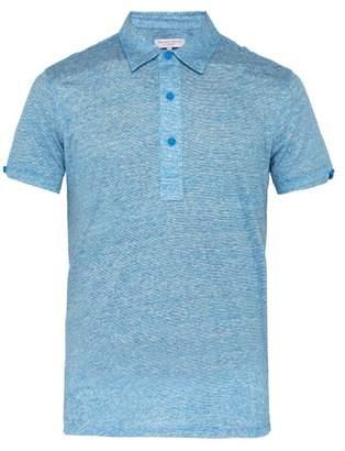 Orlebar Brown Sebastian Striped Linen Polo T Shirt - Mens - Blue