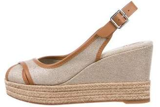 Tory Burch Woven Peep-Toe Espadrille Wedge Sandals