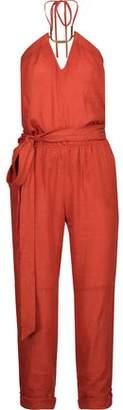 Vix Paula Hermanny Thai Embellished Linen-Blend Halterneck Jumpsuit