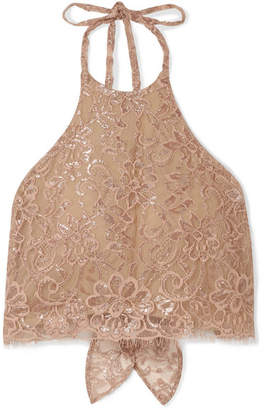 Miguelina Noel Cropped Metallic Chantilly Lace Halterneck Top - Antique rose