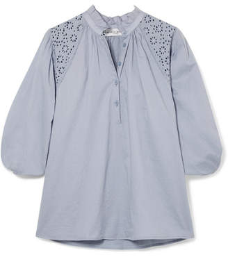Apiece Apart Vera Broderie Anglaise Cotton-voile Blouse - Blue