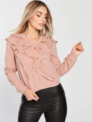 Lost Ink Petite Ruffle Lace Jumper - Pink