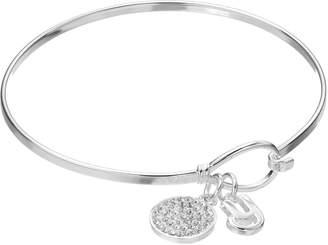 Crystal Initial Charm Bangle Bracelet