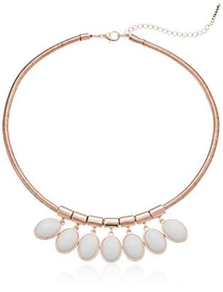 T Tahari Womens Marina Club Round Snake Chain Necklace