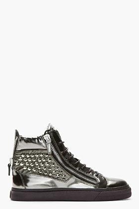 Giuseppe Zanotti Metallic green studded London sneakers
