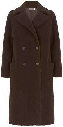 Mint Velvet Brown Teddy Long Coat