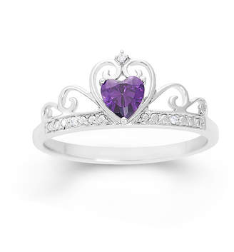FINE JEWELRY Heart-Shaped Simulated Amethyst & Cubic Zirconia Sterling Silver Ring