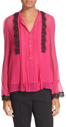 Women's The Kooples Lace Trim Silk Blouse $295 thestylecure.com
