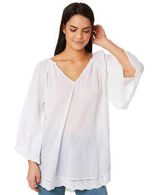 Rusty New Women's Kirra Long Sleeve Tunic Cotton White
