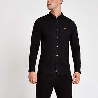 River Island Mens Black muscle fit embroidered Oxford shirt