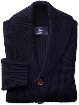 Charles Tyrwhitt Navy Rib Shawl Collar Wool Cardigan Size Medium
