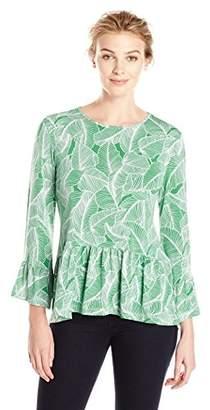 Lark & Ro Women's 3/4 Sleeve Ruffle Hem Top