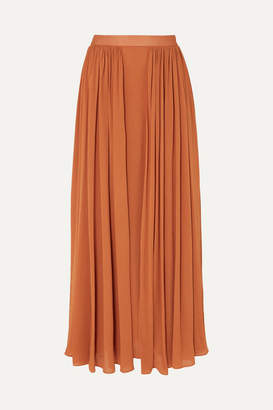 Max Mara Pleated Jersey Maxi Skirt - Brick