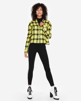 Express Plaid One-Pocket Boxy Flannel Shirt