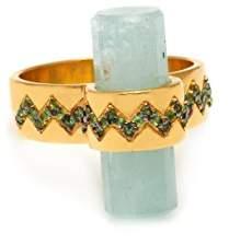 Assya Aquamarine Lost Crystal Zig Zag Ring - Size K