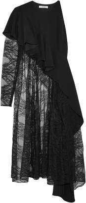 ADEAM Asymmetric Crepe And Lace Top