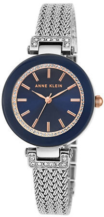 Anne Klein Anne Klein Crystal Studded Stainless Steel Mesh Bracelet Watch