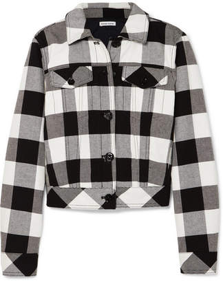 Tomas Maier Cropped Checked Cotton-twill Jacket - Black