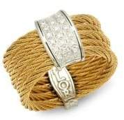 Alor 18K Gold, Stainless Steel & Diamond Textured Ring