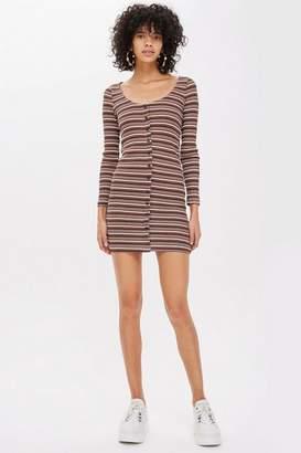 Topshop Long Sleeve Striped Button Mini Dress