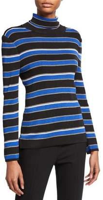 Misook Petite Striped Turtleneck Long-Sleeve Tunic