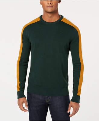 Sean John Men Crew Neck Contrast Stripe Sweater