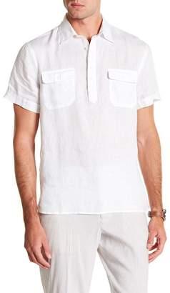 Perry Ellis Short Sleeve Linen Popover Shirt